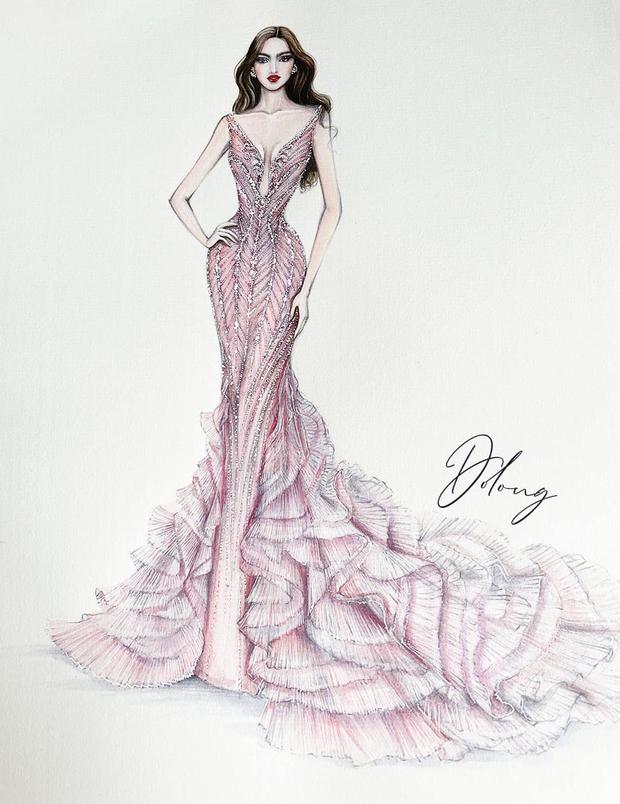 Công bố 5 bản vẽ váy dạ hội cho Hoa hậu Đỗ Thị Hà diện trong Chung kết Miss World, dự sẽ bùng nổ đấu trường quốc tế đây! - Ảnh 3.