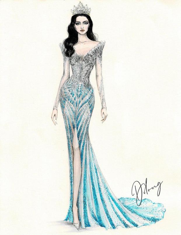 Công bố 5 bản vẽ váy dạ hội cho Hoa hậu Đỗ Thị Hà diện trong Chung kết Miss World, dự sẽ bùng nổ đấu trường quốc tế đây! - Ảnh 7.