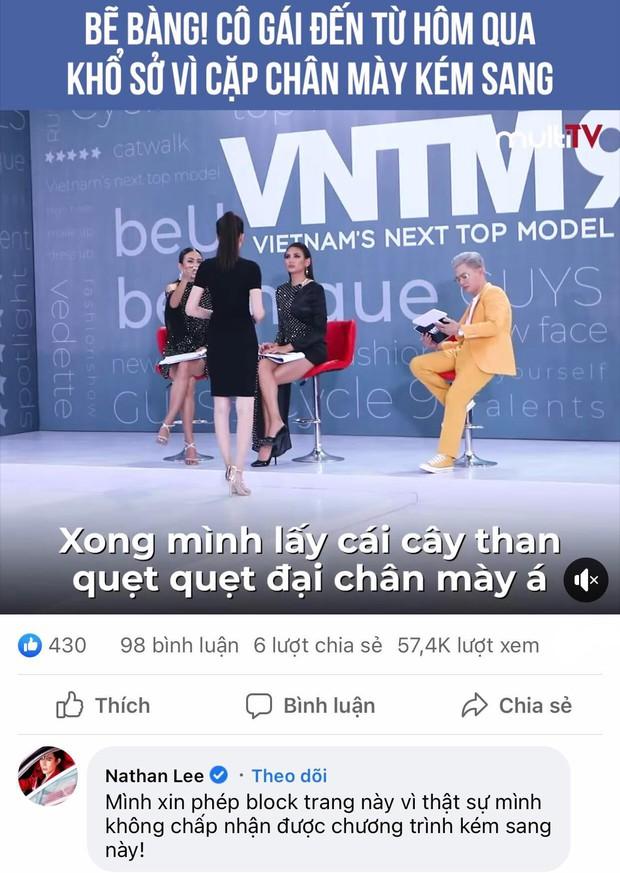 Nathan Lee tuyên bố block fanpage của chương trình truyền hình thực tế nổi tiếng vì lý do kém sang - Ảnh 2.