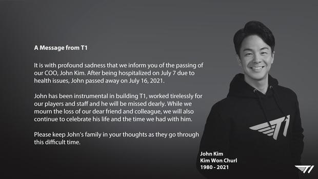T1 thông báo tin buồn: Giám đốc vận hành của tổ chức qua đời ở tuổi 41 - Ảnh 1.