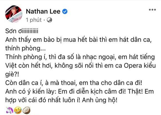 Cao Thái Sơn vừa tuyên bố hát nhạc dân ca, thính phòng, Nathan Lee đã có cú phản dame cực gắt, còn khuyên nên... diễn kịch câm - Ảnh 1.