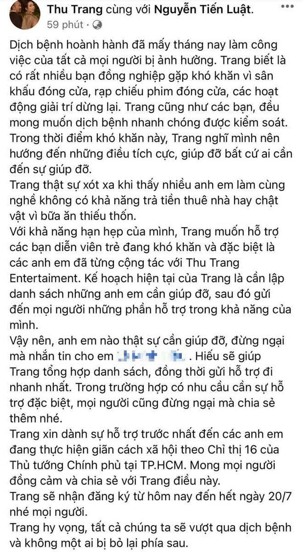 Vợ chồng Thu Trang, Huỳnh Lập đồng lòng hỗ trợ nhân viên đoàn phim vào mùa dịch: Quyết tâm không để ai bị bỏ lại phía sau! - Ảnh 3.