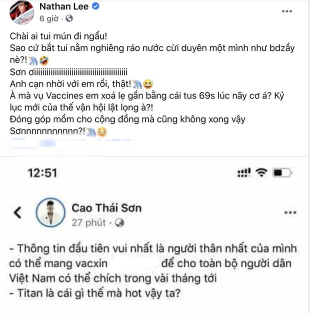 """Biến nửa đêm: Cao Thái Sơn đăng status về vaccine rồi vội xoá, ai ngờ bị Nathan Lee chụp được và đăng thẳng lên """"bóc phốt"""" - Ảnh 3."""