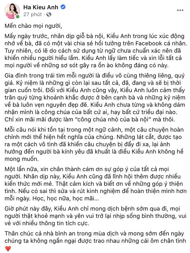 Hà Kiều Anh chính thức lên tiếng và xin lỗi khán giả về ồn ào Công chúa triều Nguyễn - Ảnh 2.