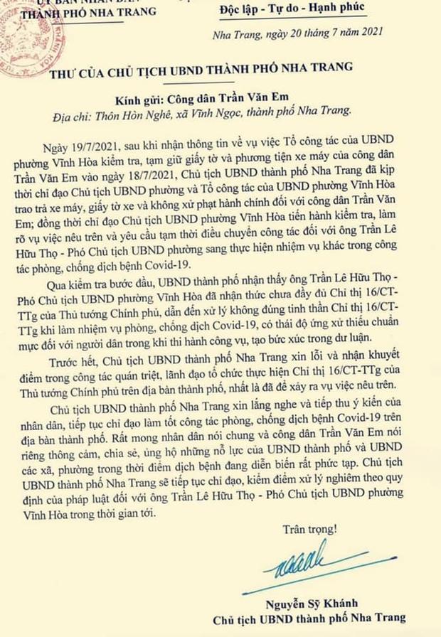 Chủ tịch UBND TP. Nha Trang xin lỗi nam công nhân bị xử phạt, giữ xe khi đi mua bánh mì - Ảnh 2.