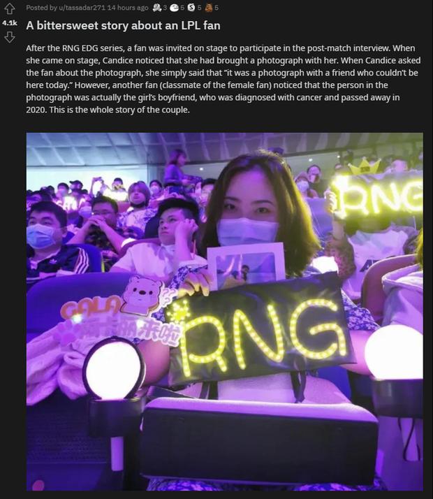 LMHT: MC Candice vô tình phát hiện cặp đôi fan RNG đặc biệt và câu chuyện đầy cảm động của họ - Ảnh 4.