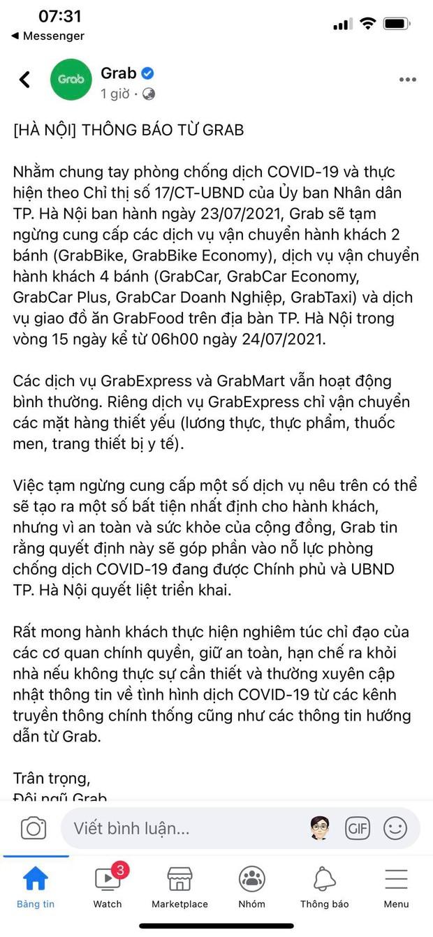 Grab, Now, Baemin thông báo tạm dừng dịch vụ giao đồ ăn tại Hà Nội từ 6h ngày 24/7 - Ảnh 1.