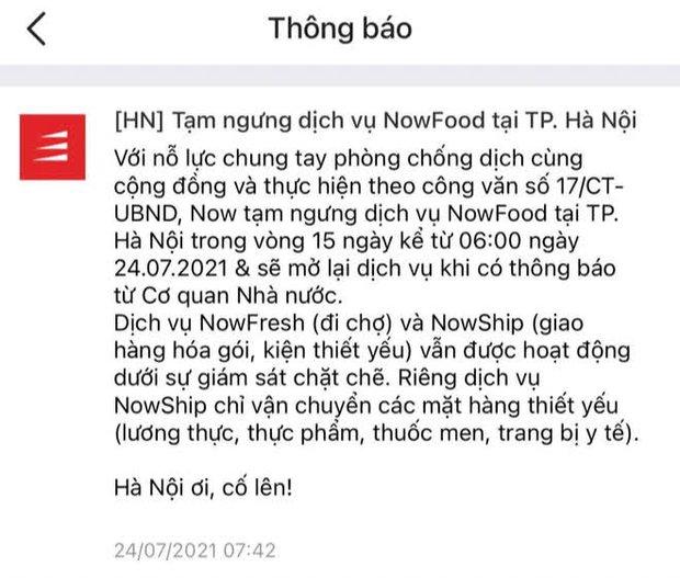 Grab, Now, Baemin thông báo tạm dừng dịch vụ giao đồ ăn tại Hà Nội từ 6h ngày 24/7 - Ảnh 2.