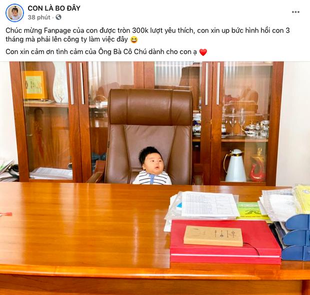 Bức ảnh cho thấy rõ con trai Hoà Minzy sinh ra ở vạch đích: 3 tháng tuổi đã được ngồi chễm chệ trên ghế Tổng giám đốc rồi đây! - Ảnh 2.