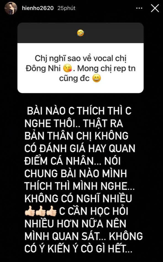 Netizen mỉa mai câu trả lời lòng vòng của Hiền Hồ khi được hỏi về giọng hát Đông Nhi: Muốn chê thì nói đại một tiếng - Ảnh 1.