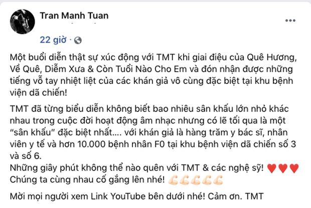 Khi âm nhạc vơi nhẹ nỗi đau: Nghệ sĩ saxophone Trần Mạnh Tuấn biểu diễn tại bệnh viện dã chiến TP.HCM khiến hàng nghìn người xúc động - Ảnh 4.