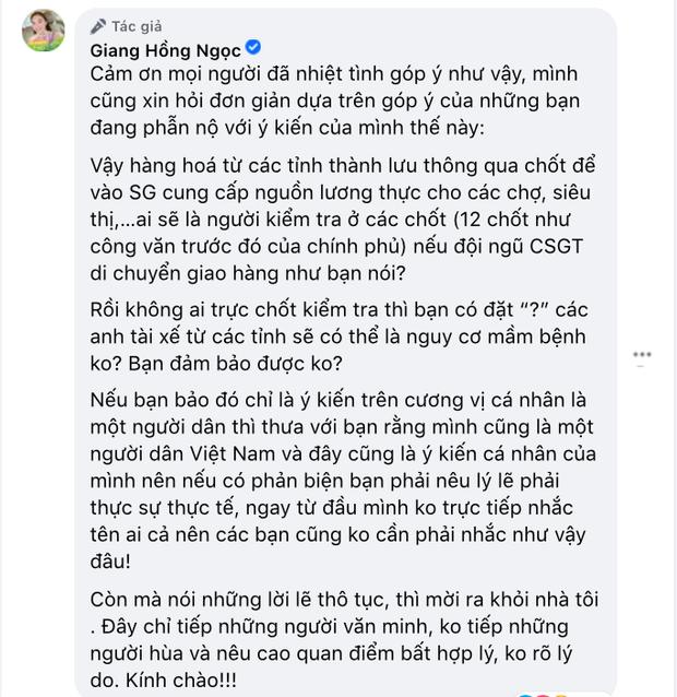 Giang Hồng Ngọc đáp căng khi bị antifan mạt sát, quyết giữ thái độ này đối với đề xuất CSGT làm shipper của Nguyễn Quang Dũng! - Ảnh 2.