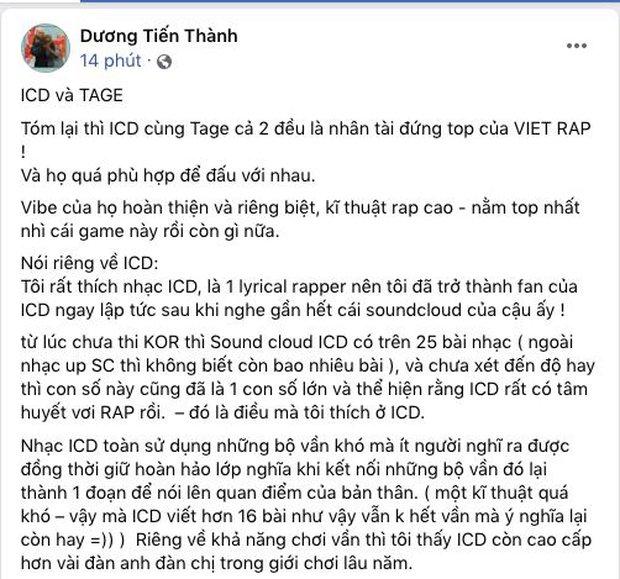 Thí sinh Rap Việt lên tiếng nhận xét kiểu hoà vốn về trận beef giữa ICD và Tage nhưng không đồng ý ở 2 điểm - Ảnh 1.