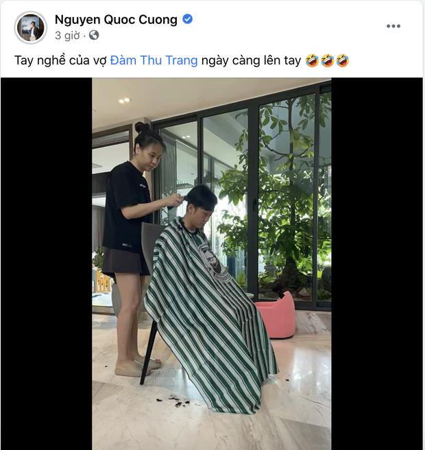 Đàm Thu Trang ra tay cắt tóc cho chồng mùa dịch, kết quả ra sao mà được ông xã và bạn bè đồng loạt chấm điểm 10? - Ảnh 2.