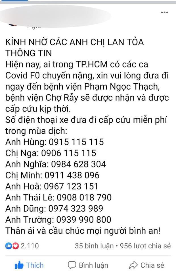 Sự thật về 8 số điện thoại hỗ trợ cấp cứu bệnh nhân Covid-19 ở TP.HCM  - Ảnh 1.