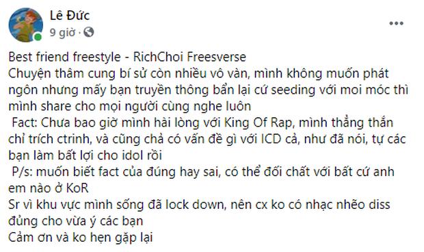 Biến căng: RichChoi diss thẳng mặt Quán quân King Of Rap, tố đi cửa sau để giành chiến thắng, chơi xấu anh em cùng chương trình! - Ảnh 1.