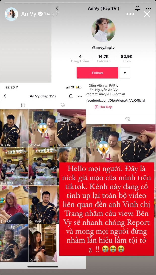 """Diễn viên An Vy lên tiếng khi bị đồn là """"tiểu tam"""" xen giữa Lương Minh Trang - Vinh Râu, làm rõ tài khoản đăng clip khó hiểu - Ảnh 3."""