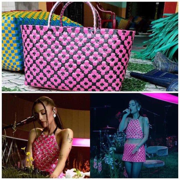 Tiện như Ariana Grande: Mua giỏ đi chợ có ngay bộ đồ, đã thế còn khéo chọn màu để fan gọi tên BLACKPINK - Ảnh 1.