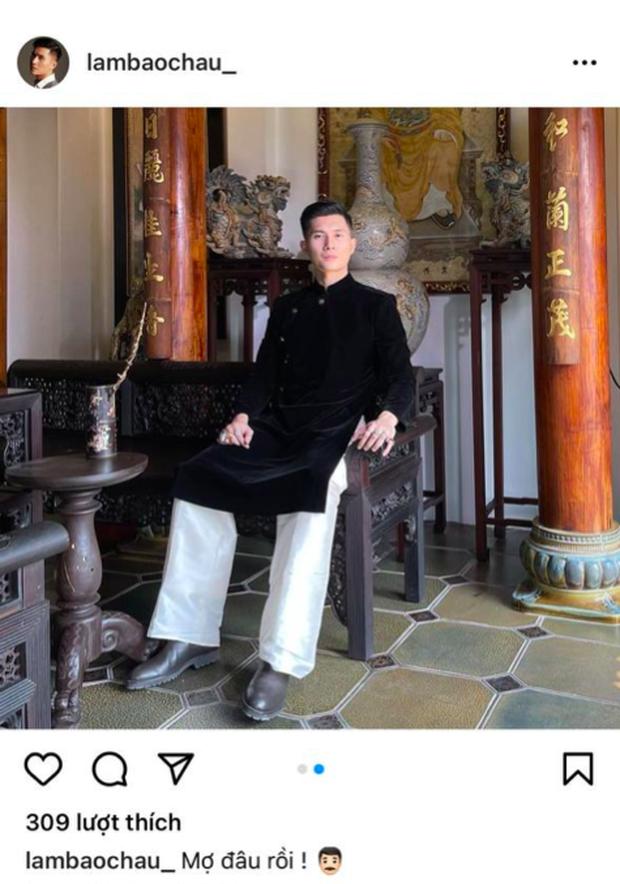 """Lâm Bảo Châu diện áo dài chỉnh tề ẩn ý đợi """"mợ"""" Lệ Quyên, netizen nhận xét thẳng: """"Trông anh già đi nhiều quá"""" - Ảnh 1."""