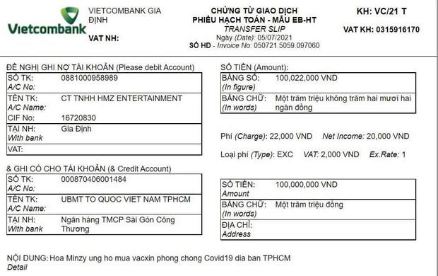 Hoà Minzy công khai quyên góp 100 triệu đồng vào quỹ phòng chống và mua vaccine tại TP.HCM - Ảnh 2.