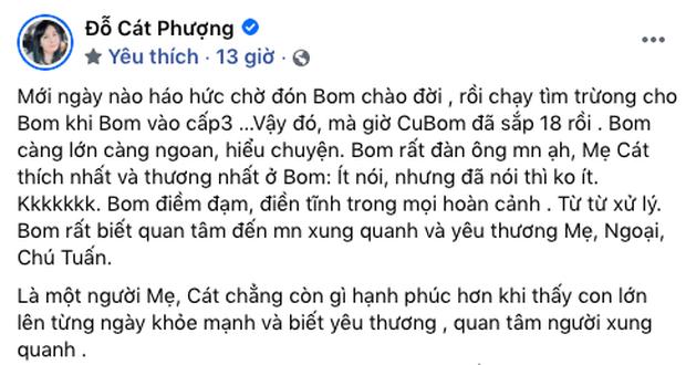 Lâu lắm không xuất hiện, con trai Cát Phượng - Thái Hoà nay đã lớn phổng phao, trông chững chạc khiến Lâm Vỹ Dạ cũng ngỡ ngàng - Ảnh 3.