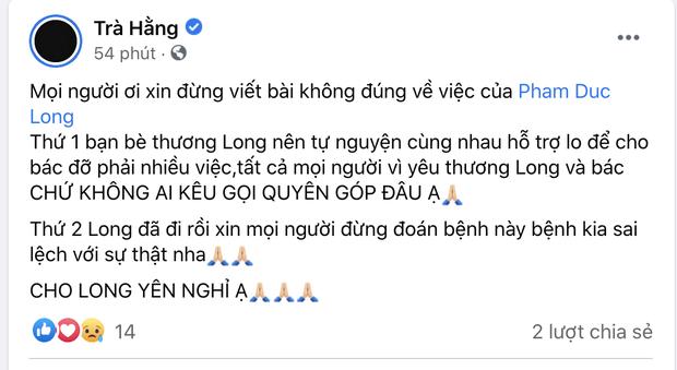 Trà Ngọc Hằng và Cao Thái Hà lên tiếng về 2 tin đồn sai lệch liên quan đến cố diễn viên Đức Long - Ảnh 2.