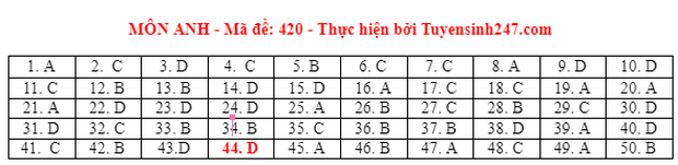 Đáp án đề thi môn Tiếng Anh tốt nghiệp THPT 2021 tất cả các mã đề - Ảnh 20.