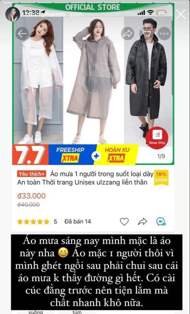Trời mưa gió, Trinh Phạm tâm lý mách chị em kiểu áo mưa măng tô rẻ đẹp nhưng 10 phút sau shop đã hết hàng - Ảnh 2.