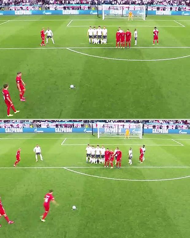 Những pha phối hợp thảm hoạ của trọng tài chính và tổ VAR ở trận bán kết Anh - Đan Mạch - Ảnh 1.