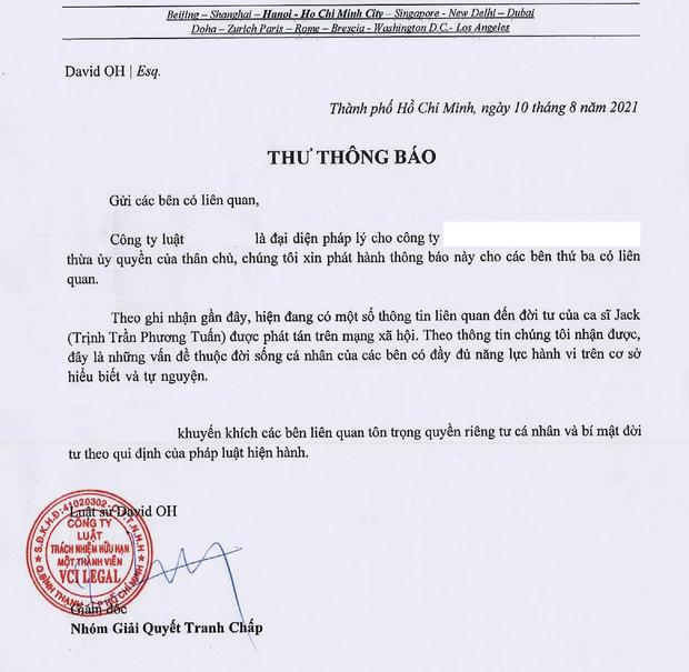 Công ty quản lý đăng Thư Thông Báo ngay sau khi Jack xác nhận có con với Thiên An  - Ảnh 1.