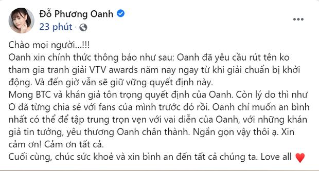 Phương Oanh (Hương Vị Tình Thân) tiếp tục rút khỏi đề cử VTV Awards, khóa cả bình luận để netizen khỏi phải bàn - Ảnh 1.