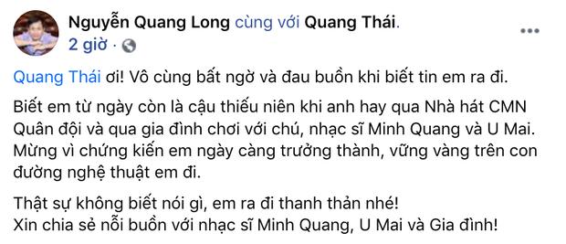 Tin buồn: Nghệ sĩ Quang Thái - con trai nhạc sĩ Minh Quang qua đời - Ảnh 2.