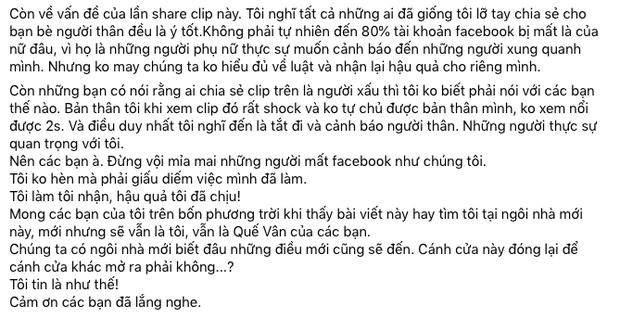 1 sao nữ Vbiz xác nhận bị khoá Facebook vì share clip nhạy cảm liên quan đến trẻ em, giải thích lý do có hợp lý? - Ảnh 3.