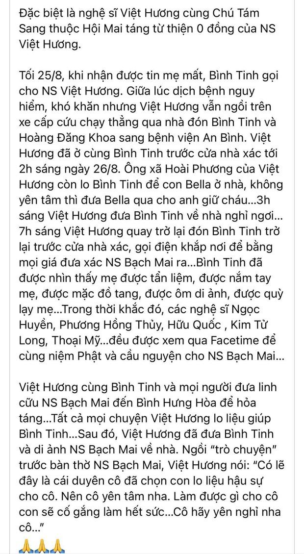 Con gái đính chính nguyên nhân NS Bạch Mai qua đời, hành động của vợ chồng Việt Hương gây xúc động mạnh - Ảnh 6.