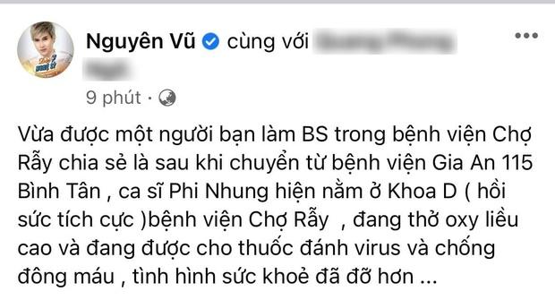 Nguyên Vũ tiết lộ thông tin mới nhất của Phi Nhung: Đang thở oxy liều cao, uống thuốc chống đông máu! - Ảnh 2.