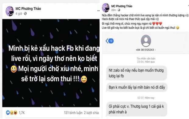 Kẻ xấu ngang nhiên hack tài khoản Facebook của MC Phương Thảo ngay trên sóng livestream - Ảnh 1.
