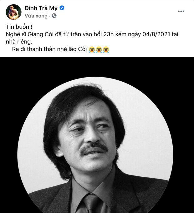 Trà My, Minh Tiệp và dàn sao Việt bàng hoàng nghe tin NS Giang Còi qua đời: Vĩnh biệt anh, mãi mãi 1 tuổi thơ! - Ảnh 2.