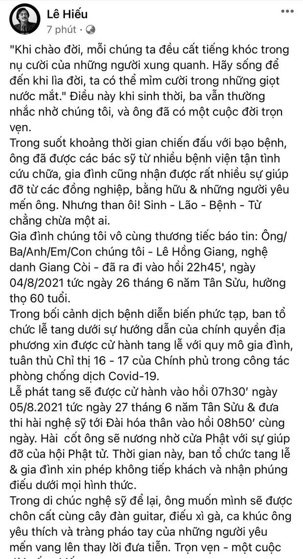 Con trai NS Giang Còi thông báo cáo phó: Chỉ phát tang và hoả táng ngay sáng nay, hé lộ di nguyện đặc biệt của người quá cố - Ảnh 2.