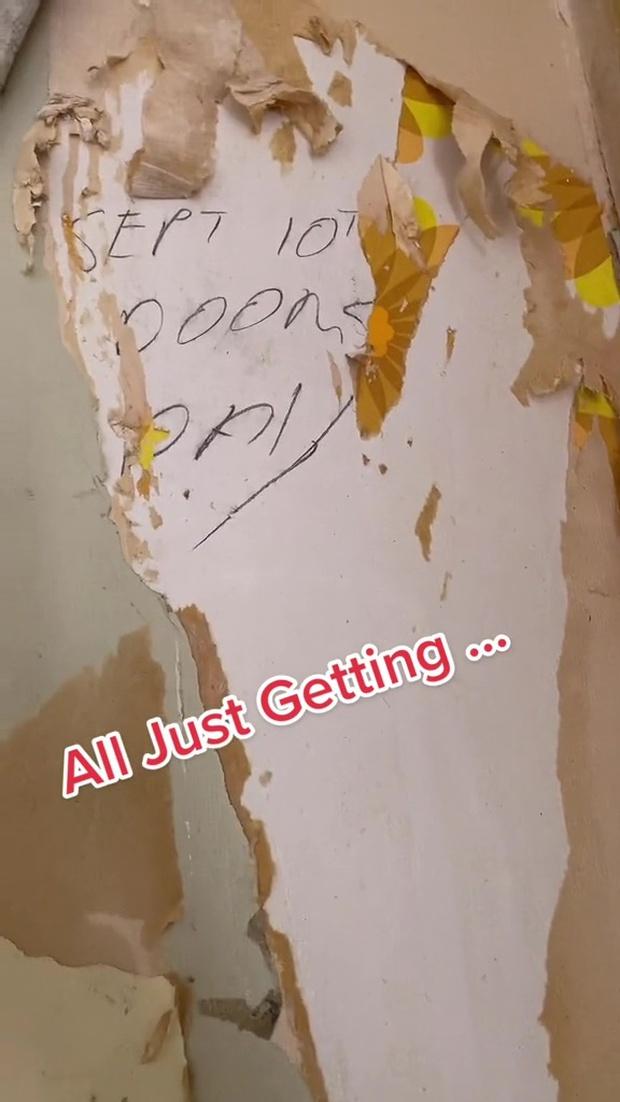 Xé giấy dán tường trong căn nhà mới mua để sơn lại, cô gái phát hiện dòng chữ phía sau thì sợ đến run lẩy bẩy, dân tình liền bảo nên chuyển nhà - Ảnh 2.