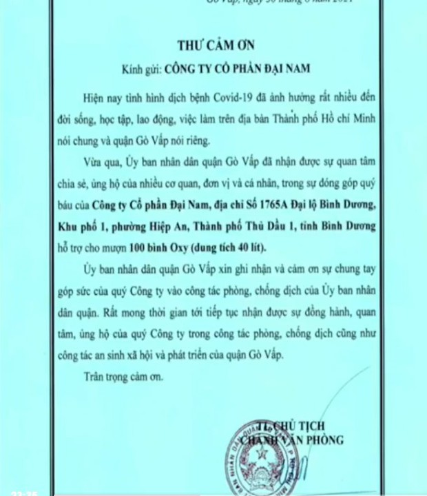 """Bà Phương Hằng khoe thư cảm ơn vì hỗ trợ oxy cho Bệnh viện Thống Nhất và nhiều đơn vị, khẳng định """"vài ngàn tỷ không mua được"""" - Ảnh 2."""