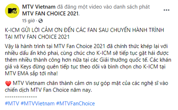 K-ICM sẽ đại diện Việt Nam tranh tài tại MTV EMAs 2021, Sơn Tùng kêu gọi vote cho Kay Trần cũng đành chịu thua - Ảnh 1.
