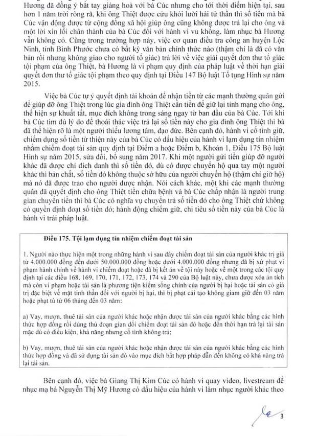Luật sư công bố 10 trang tờ đơn tố giác các hành vi phạm tội của Giang Kim Cúc: Nếu tôi làm sai thì Cúc hoàn toàn có thể tố cáo tôi về hành động vu khống - Ảnh 2.