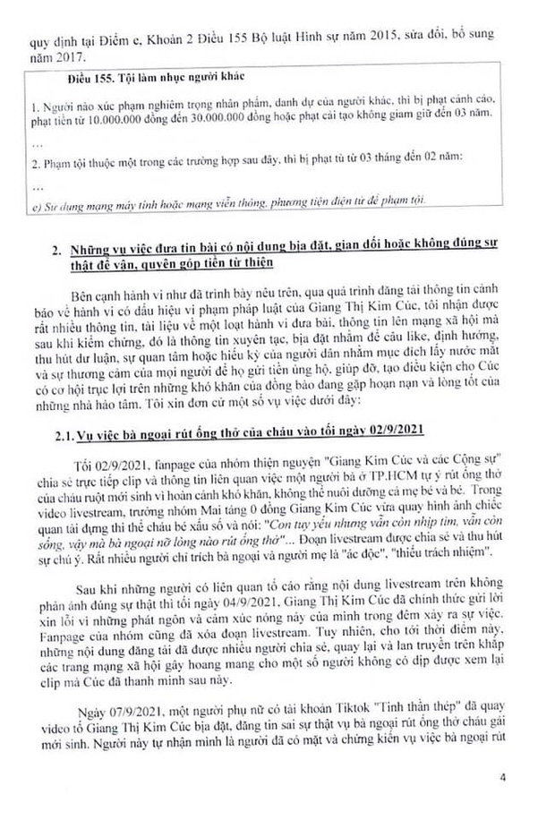 Luật sư công bố 10 trang tờ đơn tố giác các hành vi phạm tội của Giang Kim Cúc: Nếu tôi làm sai thì Cúc hoàn toàn có thể tố cáo tôi về hành động vu khống - Ảnh 3.