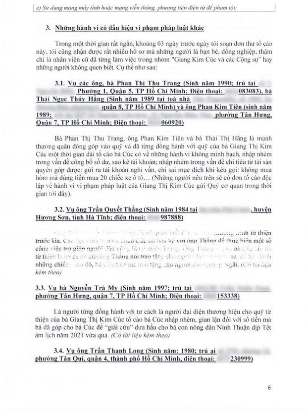 Luật sư công bố 10 trang tờ đơn tố giác các hành vi phạm tội của Giang Kim Cúc: Nếu tôi làm sai thì Cúc hoàn toàn có thể tố cáo tôi về hành động vu khống - Ảnh 5.