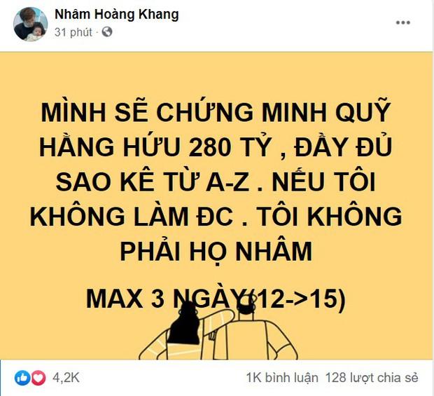 Cậu IT Nhâm Hoàng Khang khẳng định sẽ công bố sao kê 280 tỷ đồng từ A đến Z của Quỹ từ thiện Hằng Hữu, tối đa trong 3 ngày - Ảnh 1.
