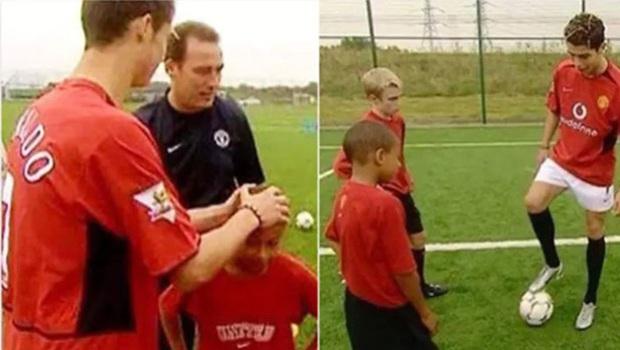 Từng được Ronaldo xoa đầu dạy vài miếng kỹ thuật lúc còn bé tí, sau gần 20 năm, ngôi sao MU thoả ước nguyện chơi bóng và ghi bàn cùng thần tượng - Ảnh 3.