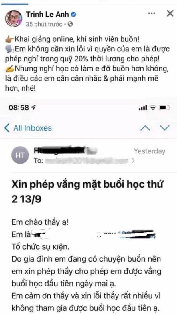 Sinh viên xin vắng học vì nhà có người mất, giảng viên kiêm MC VTV đăng lên Facebook mỉa mai: Nghỉ học có làm em đỡ buồn hơn không? - Ảnh 1.