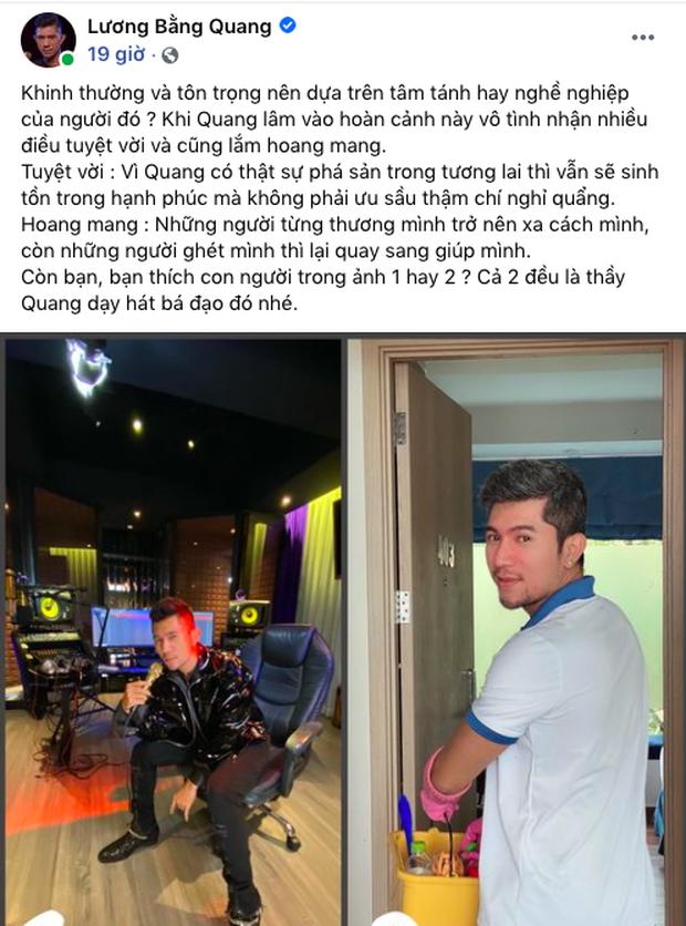 Lương Bằng Quang tự so sánh ảnh trước và sau khi làm nhân viên dọn vệ sinh, tiết lộ đang bị nhiều người xa cách - Ảnh 2.