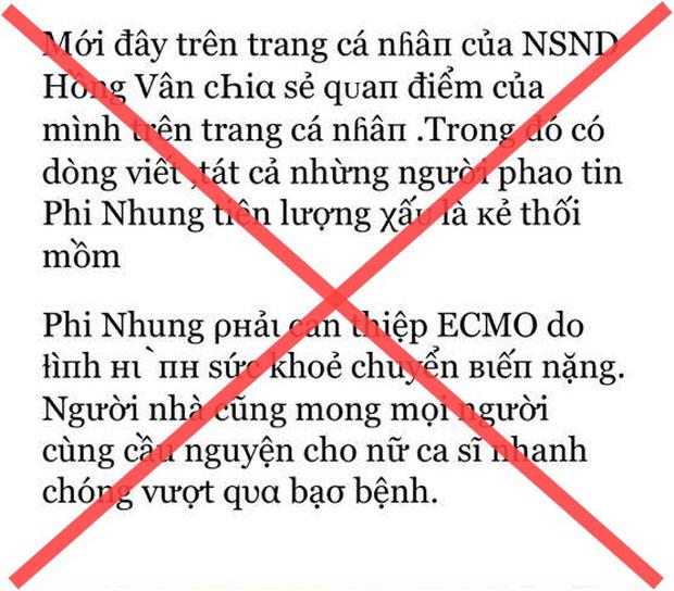 Đến lượt NS Hồng Vân bị mạo danh tung tin tức tiêu cực về bệnh tình Phi Nhung, phải bức xúc lên tiếng đính chính - Ảnh 2.