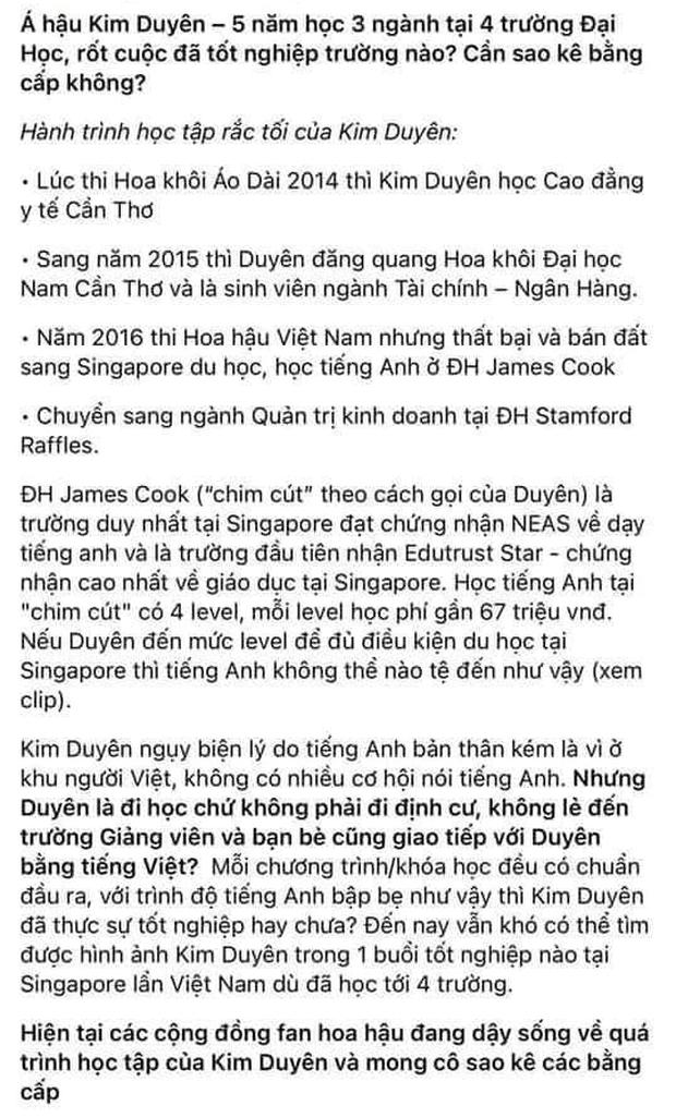 Á hậu Kim Duyên: 5 năm học 4 trường nhưng nghi vấn chưa tốt nghiệp, netizen đòi sao kê bằng cấp - Ảnh 4.